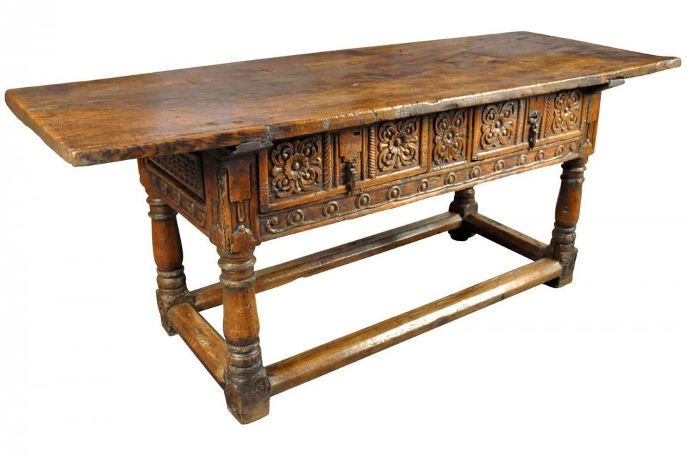 Great An Outstanding 17th Century Reflectoire Console Table From Barcelona, Spain.  The Patina And Graining Is Exceptional. Two Deep Carved Drawers And  Handsomely ...