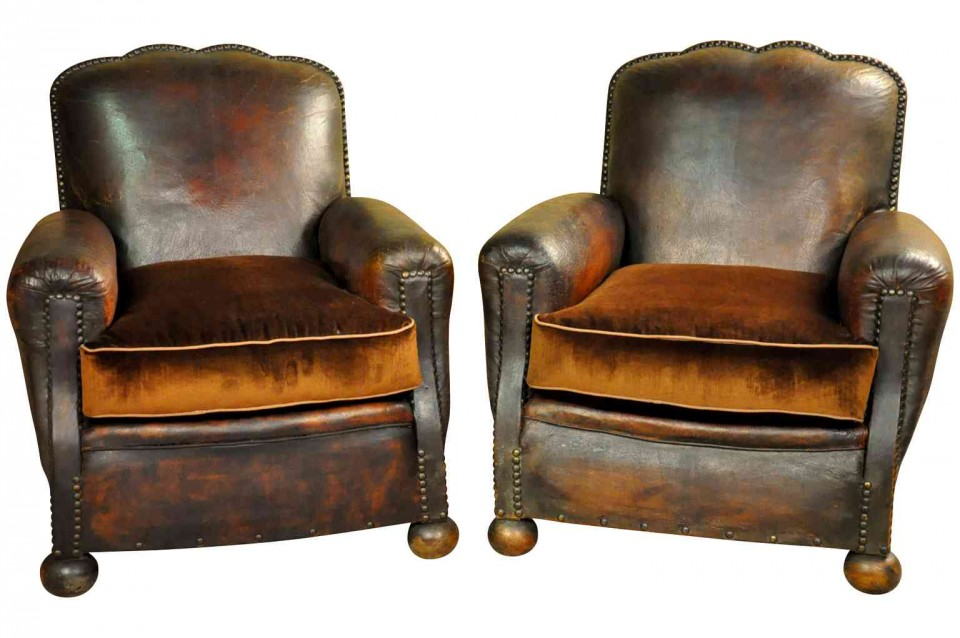 Pair Of French Art Deco Period Club Chairs T3166