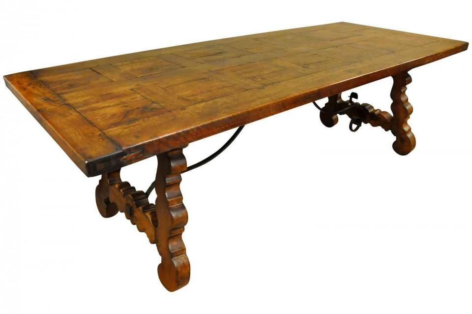 Charmant 19th Century Spanish FarM Table   Trestle Table T3167