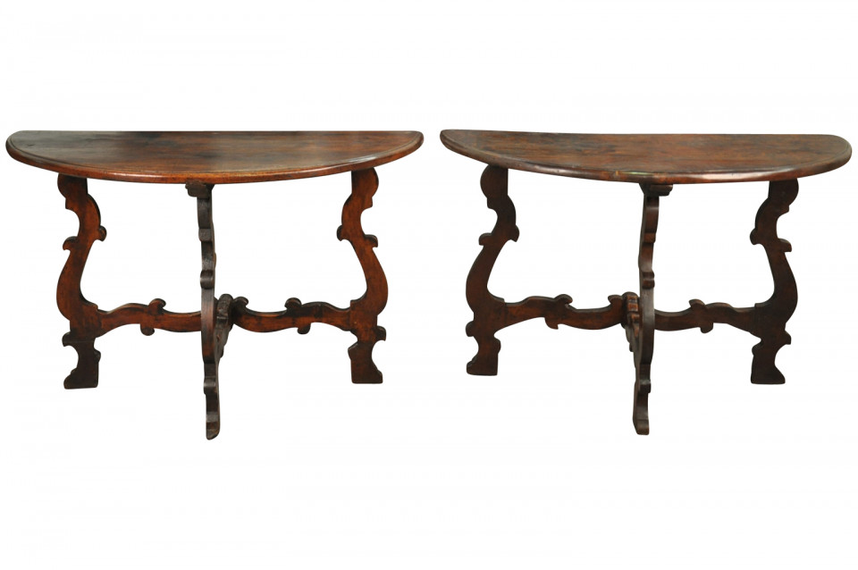 Stunning Pair Of 18th Century Italian Demi Lune Console Tables FTP1084