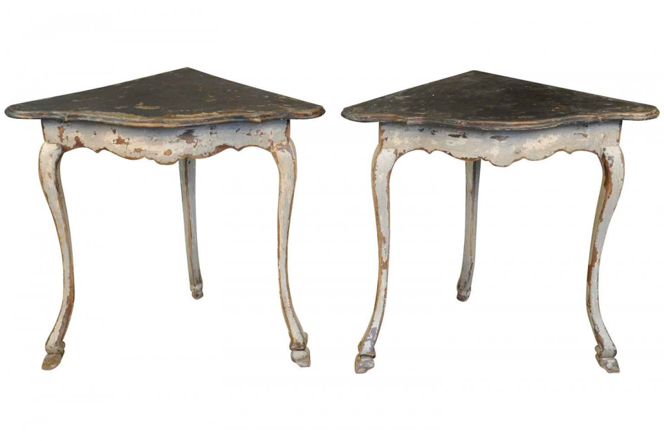 pair of spanish corner console tables ftp1059