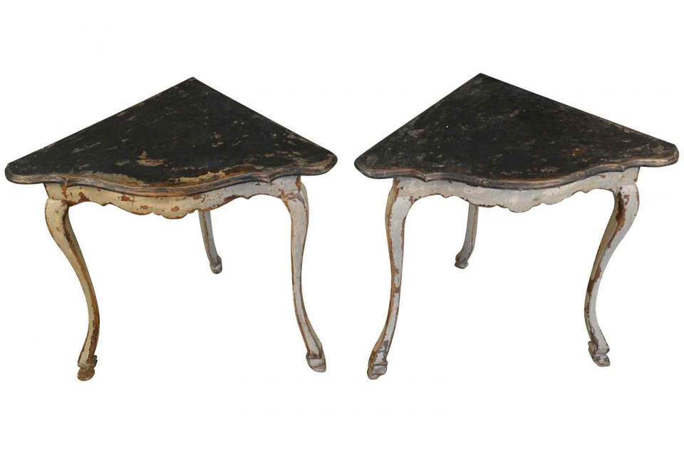 pair of spanish corner console tables