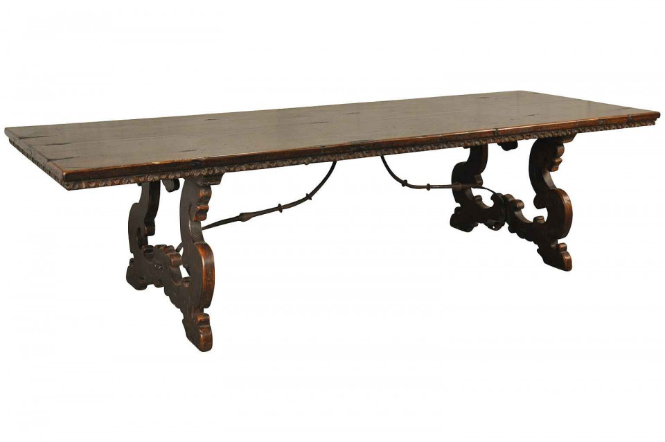 A Monumental And Unique 17th Century Style Farm Table, Trestle Table From  Northern Italy. Masterly Crafted From Very Sound And Thick Planks Of Antique  ...