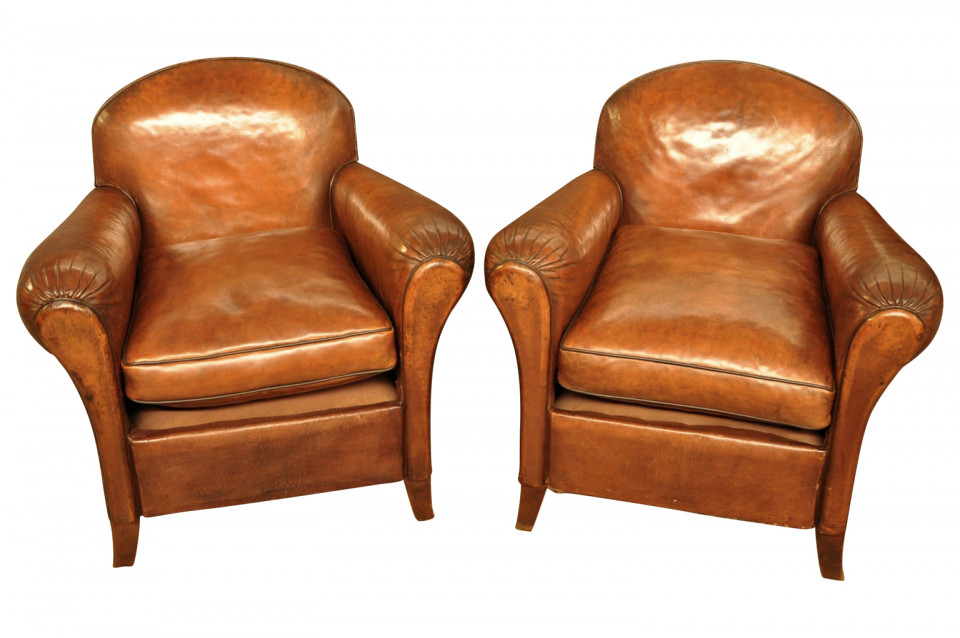 Pair Of French Art Deco Leather Club Chairs - Provenance Antiques