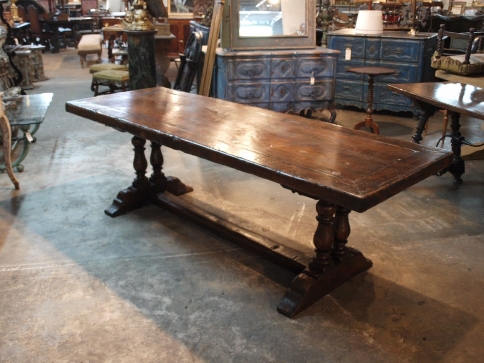 A Wonderful Later 19th Century French Farm Table   Trestle Table.  Beautifully Constructed From Rich Chestnut. Very Handsome Baluster Legs And  A Framed Solid ...