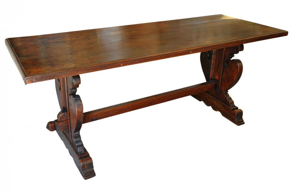 A Very Handsome Later 18th Century Trestle Table From Genoa, Italy.  Wonderful As A Narrow Dining Table, Console Or Writing Table.