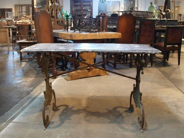 French Early 19th Century Bistro Table In Cast Iron And Marble