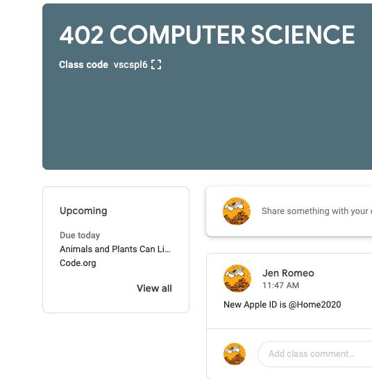Google Classroom items due