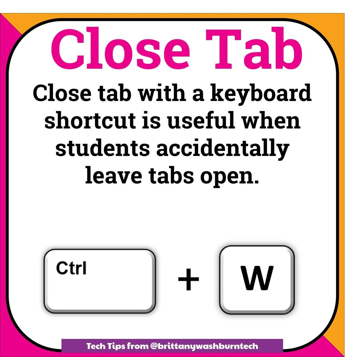 Close tab with keyboard shortcut Ctrl+W