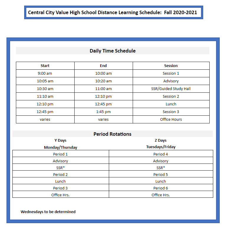 Central City Value Distance Learning Schedule