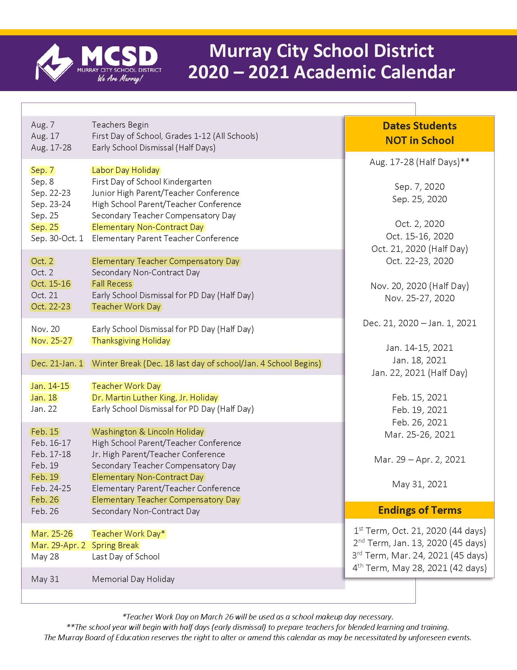 Updated school calendar 2020-2021