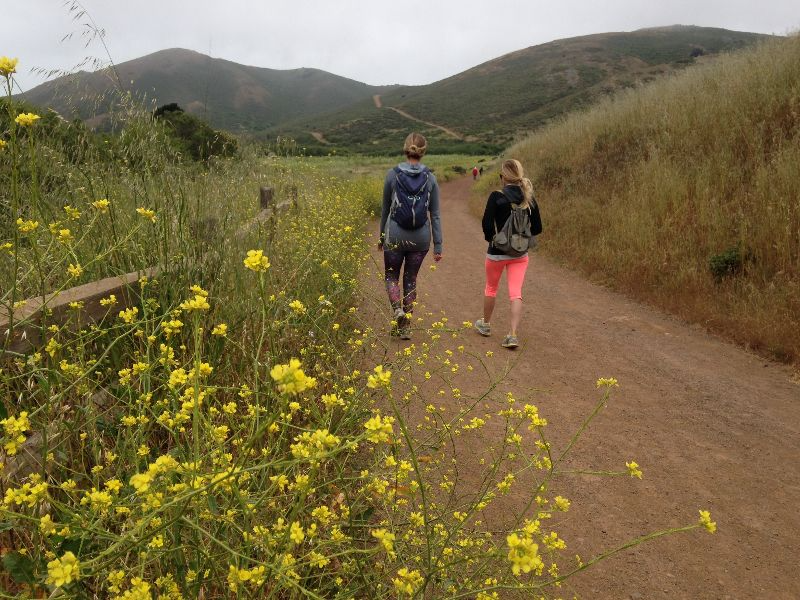 Two people walking on a hiking trail