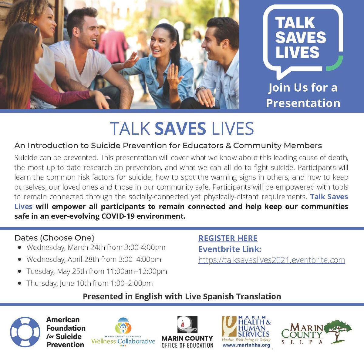 Talk Saves Lives presentation flyer