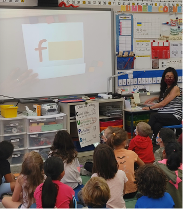 Students observing an image shared on a screen