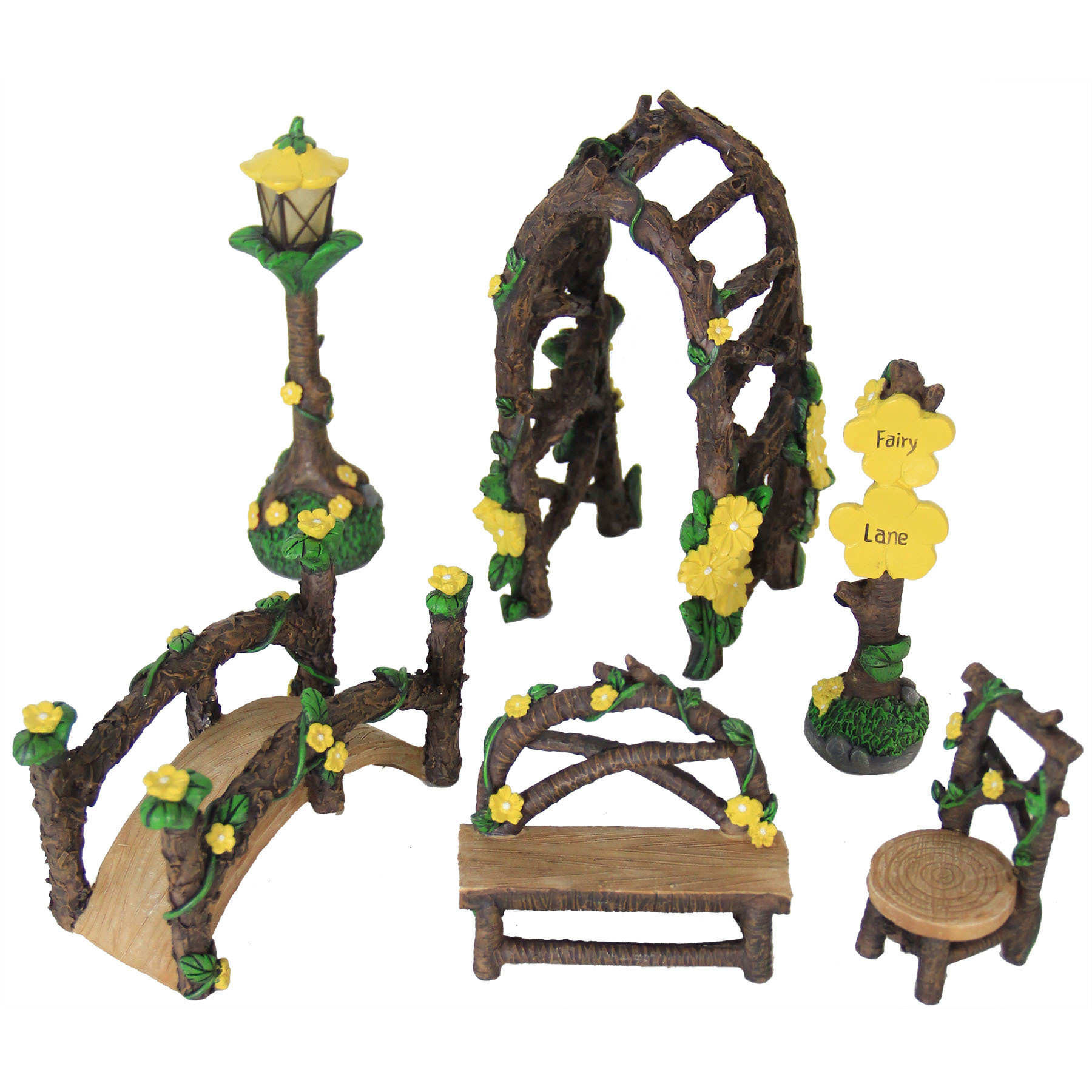 Miniature Yellow Fairy Garden Set