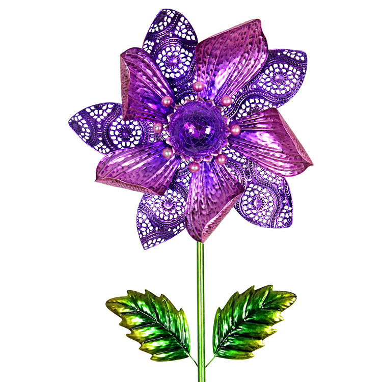 Solar Purple Spinning Flower Stake