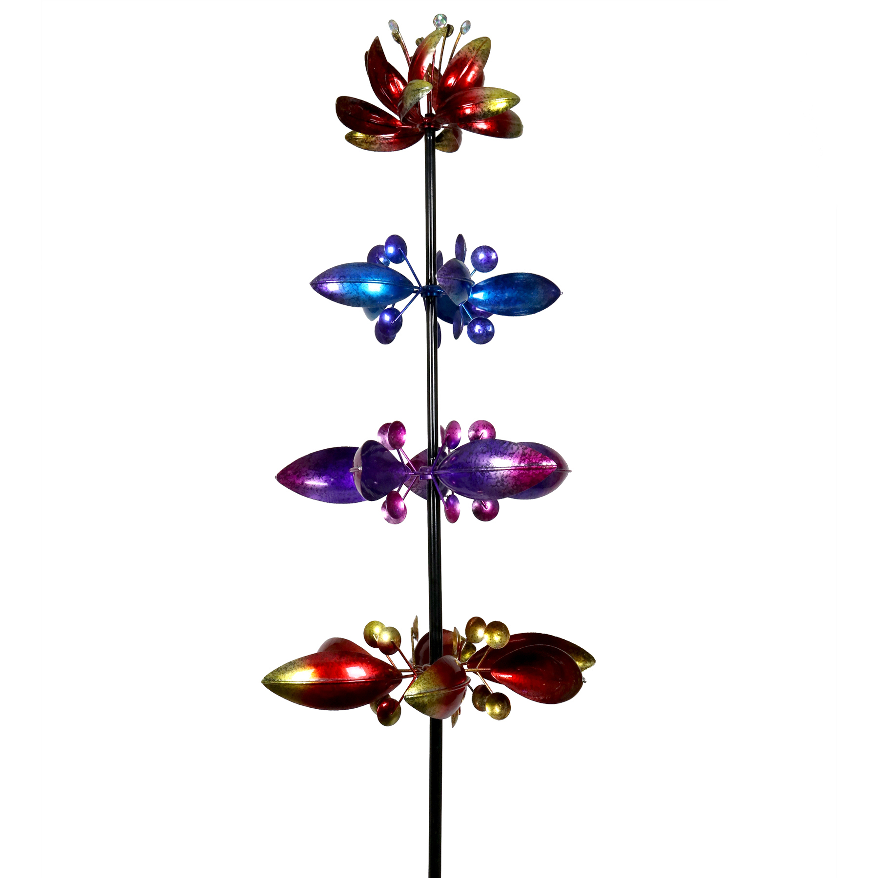 Solar Four Flower Spinner Stake