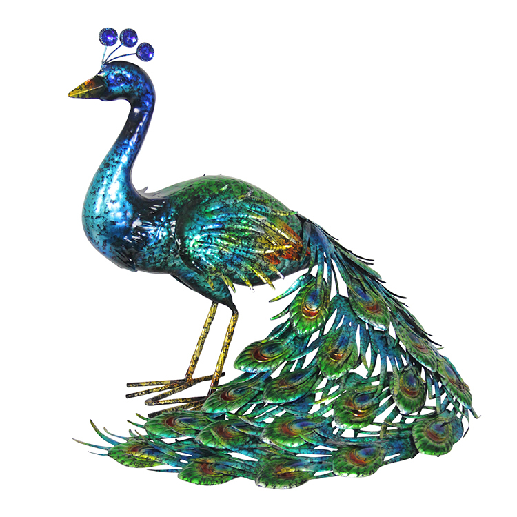 Hand Painted Metal Peacock Statue