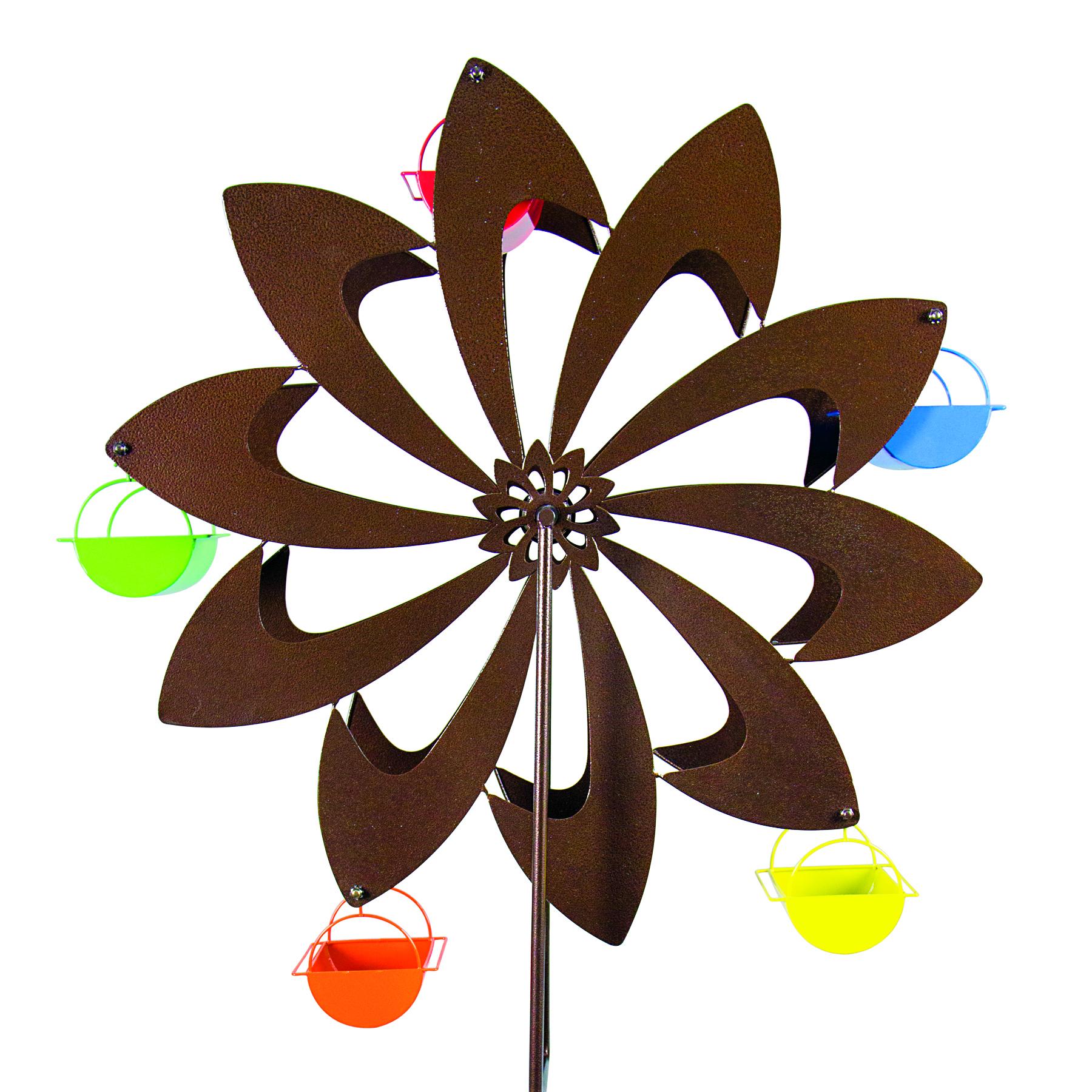 Bronze Pinwheel Spinning Bird Feeder
