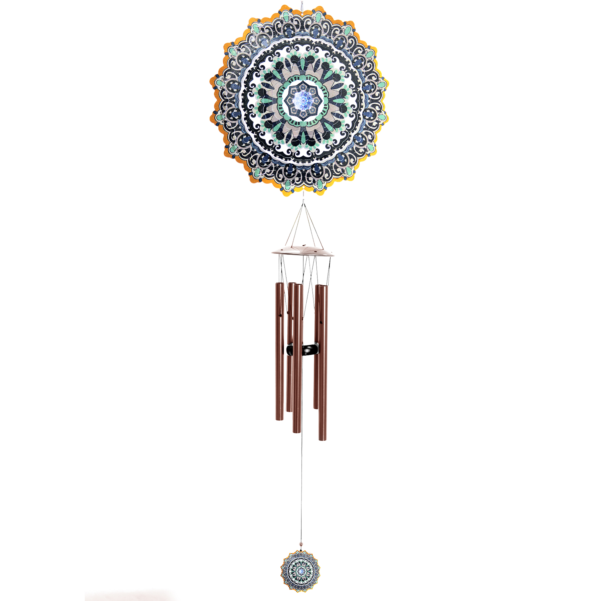 Laser Cut Blue Starburst Wind Chime Spinner