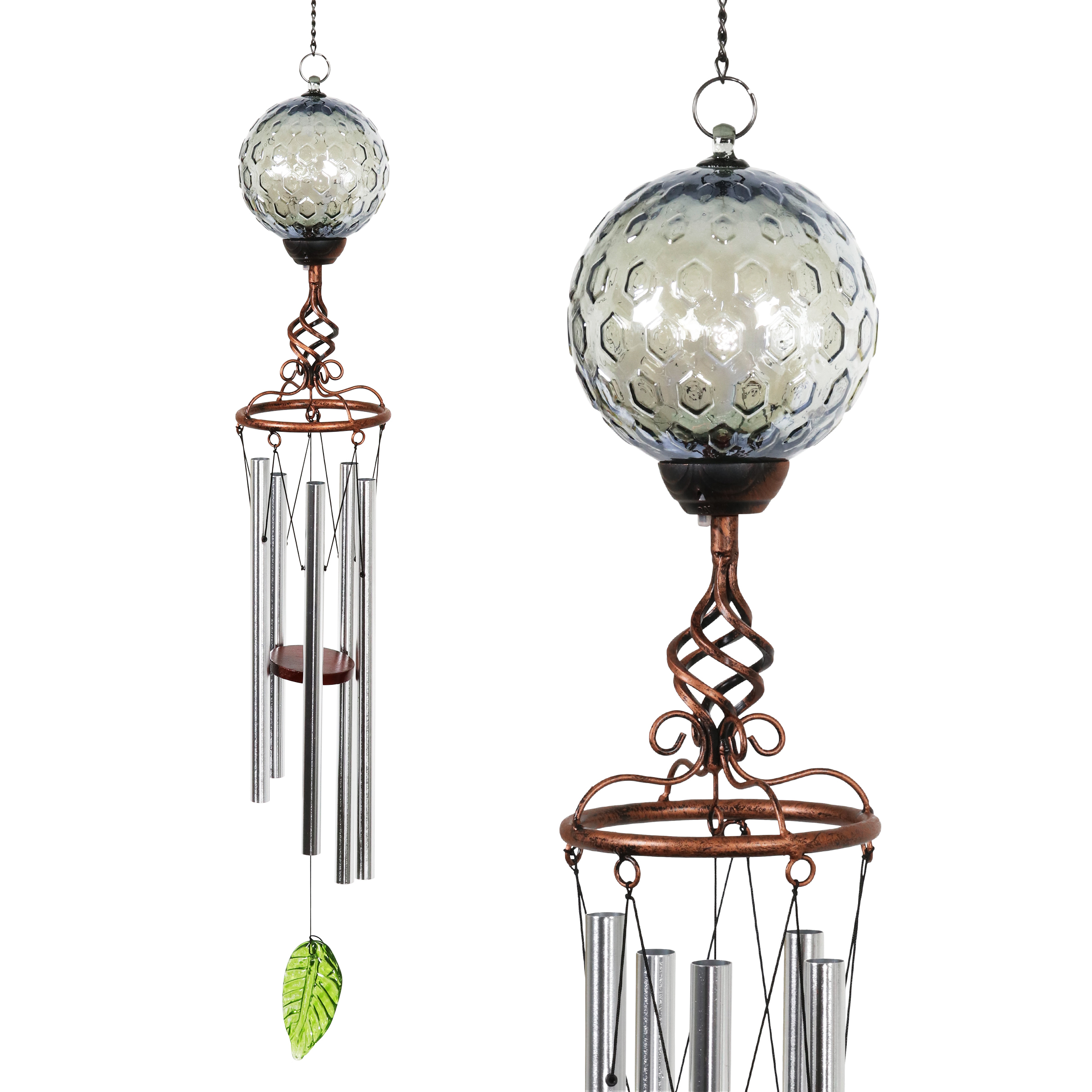 Solar Pearlized Honeycomb Glass Wind Chime