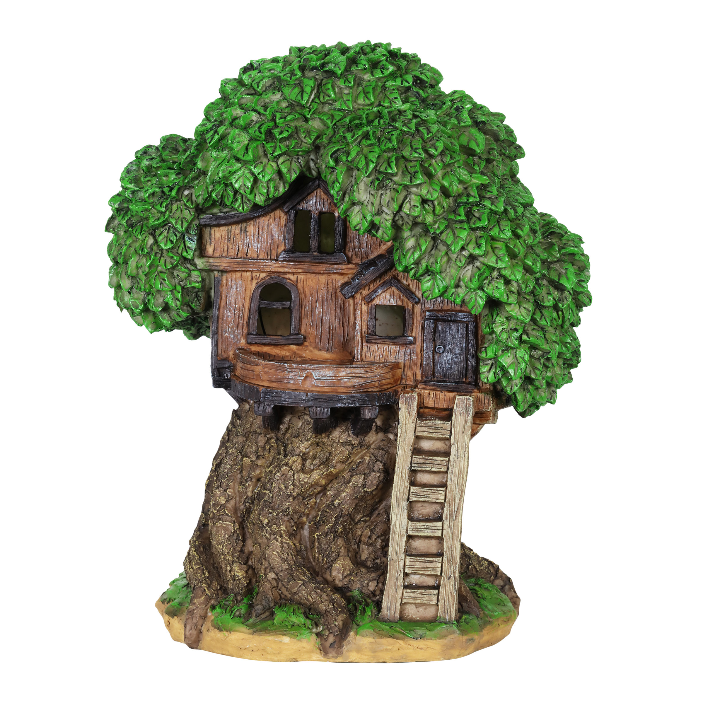 Solar Fairy Tree House with Deck Statue