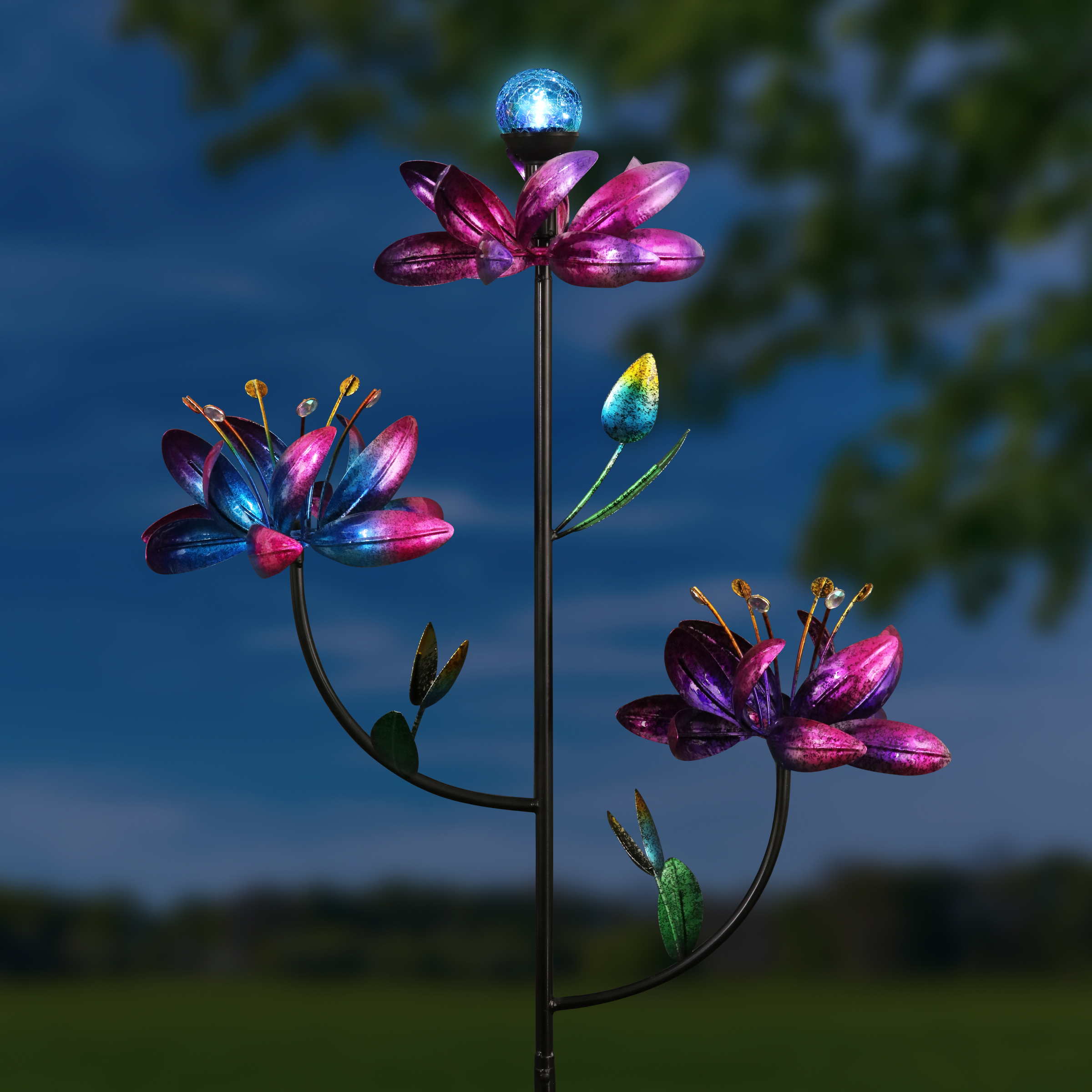 Giant Solar Triple Flower Spinner Stake