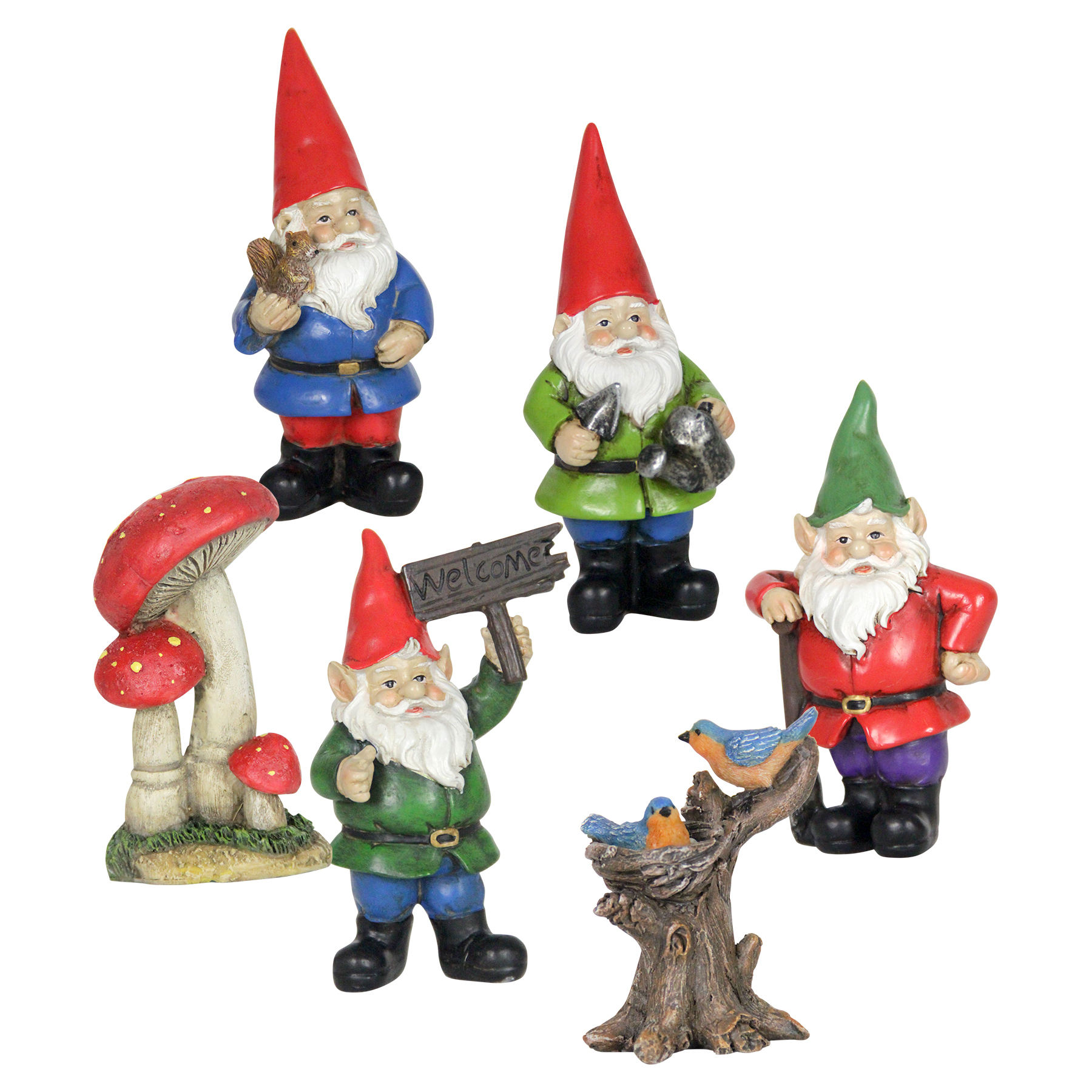 27706ae243adf Miniature Gnome Garden Set (6pc) - Exhart | Wholesale Home & Garden Decor