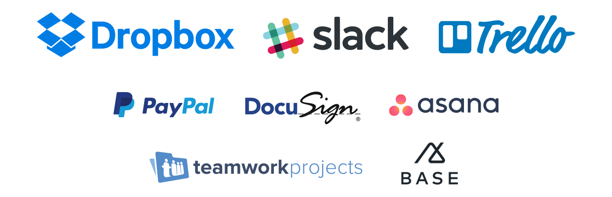 dropbox slack trello paypal docusign asana teamwork base