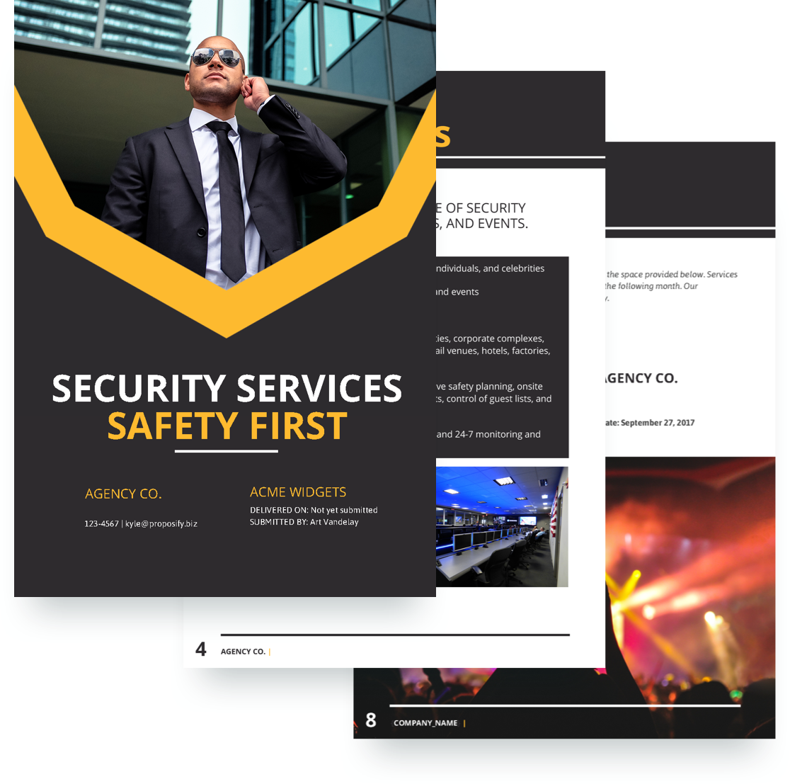 Security proposal template free sample for Security company profile template