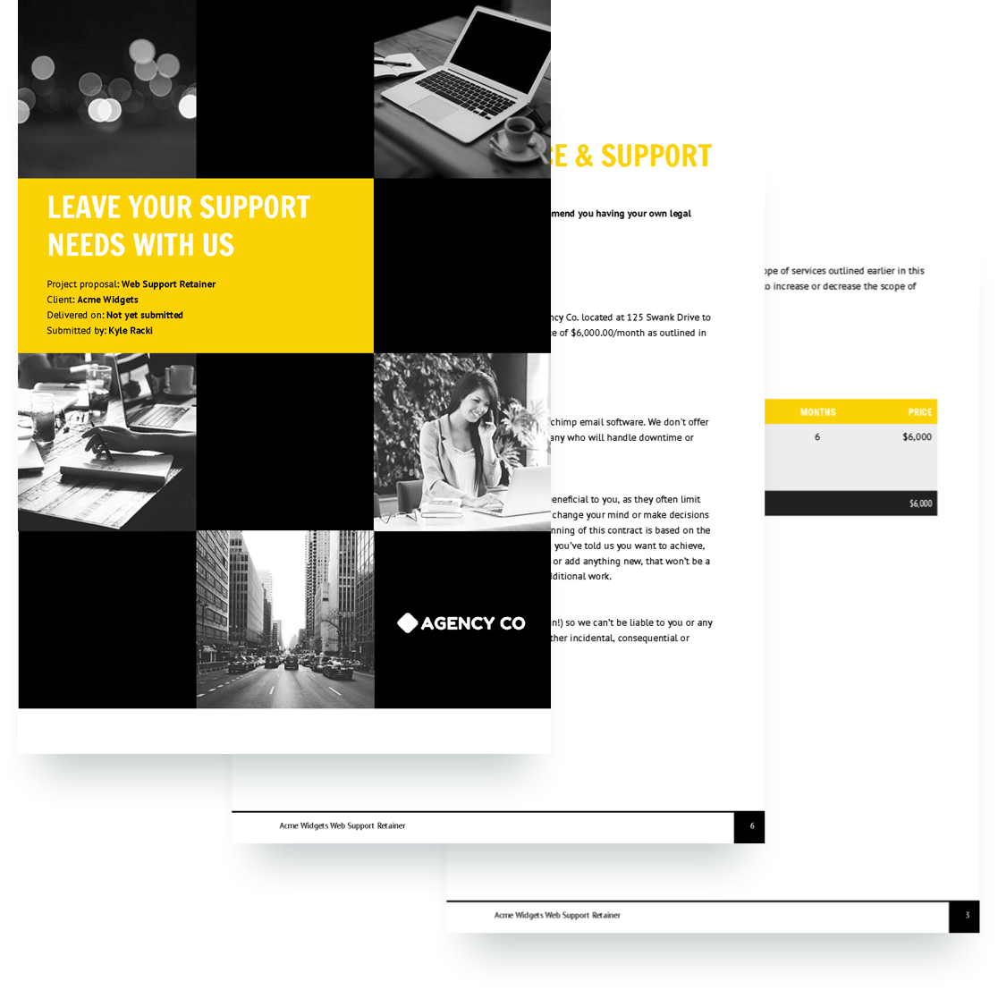 Web Support Retainer Proposal Template Free