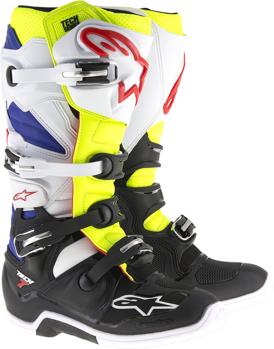 Alpinestars Tech 7 MX Motorcycle Boots - White/Yellow/Blue - Size ...