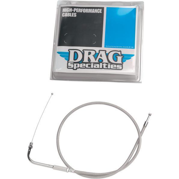 Drag Specialties Alternative Length Braided Throttle Cable for Custom Height/Width Handlebars