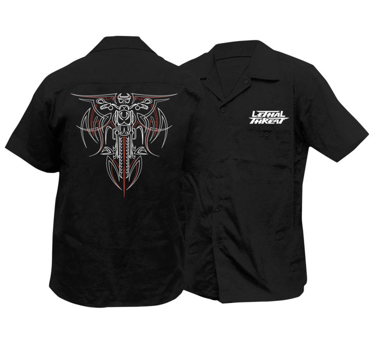 Lethal Threat Men's Pinstripe Biker Work Shirt