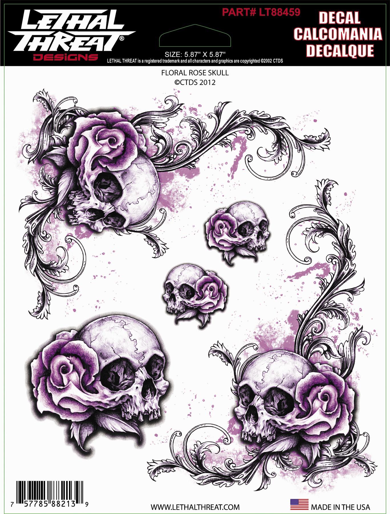 Lethal Threat Floral Rose Skull Decal