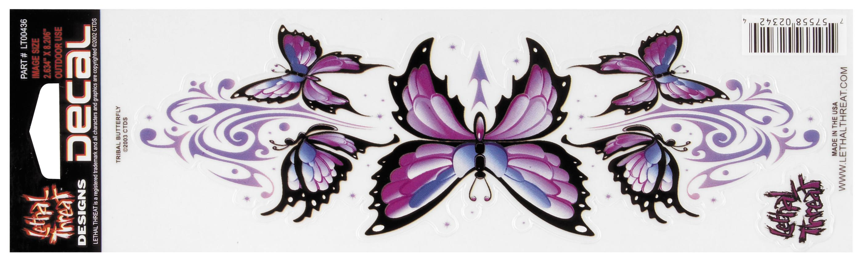 Lethal Threat Purple Butterfly Decal