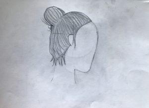 hair bun drawing