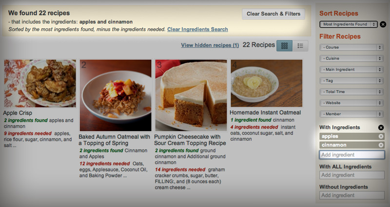 Enhanced feature the robust recipe search plan to eat plan to eat the new search will also work the other way round allowing you to exclude recipes containing ingredients that you are trying to avoid forumfinder Images