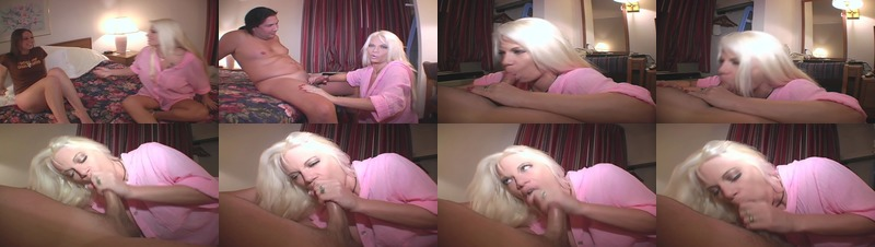Dirty blonde MILF sucks long hair dude's dong in bed