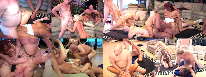Horny young and older studs suck and fuck their way to a group of hungry wet pussies in the living room