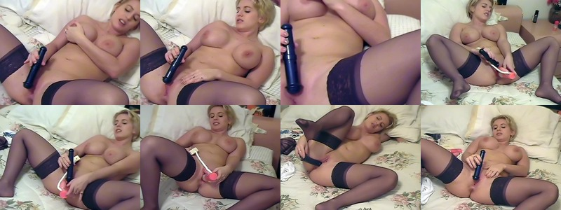 Dildo fucking randy blond slut