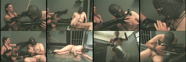 Slave Mistress gets her boots cleaned with his tongue