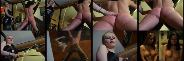 Horny dominatrix whore dominates her two slaves