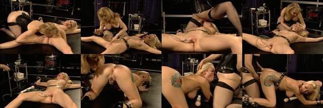 Sexy sex slave sucks and fucks dildo