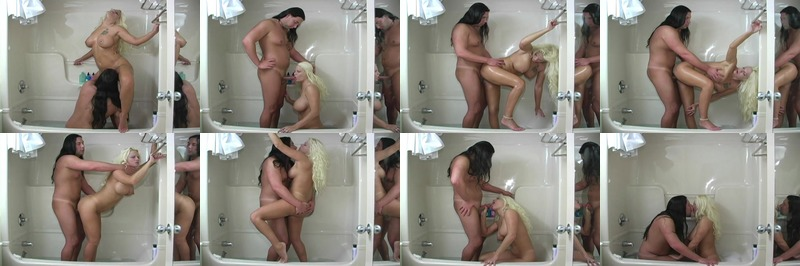 Long hair stud and saucy blonde get horny and fuck in the shower