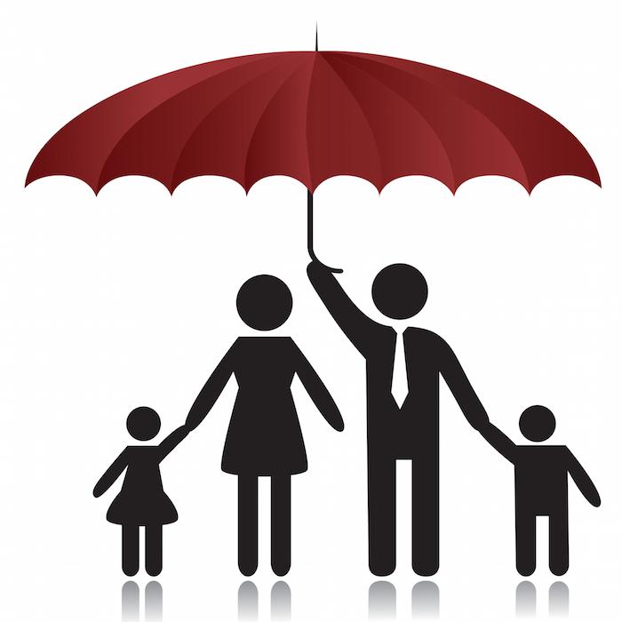 Silhouettes of woman, man, children, family under umbrella cover.Vector illustration