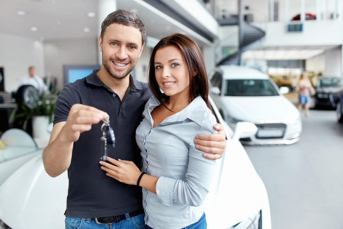 Young couple beside the car