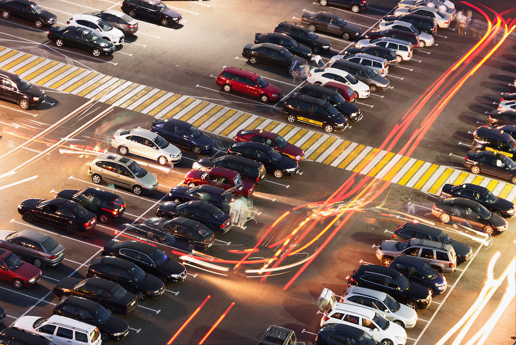 movement of cars in the parking lot