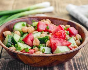 Cucumber Tomato Salad With Garbanzo Beans and Feta