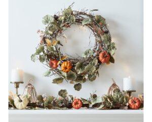 1. Lit Natural Pumpkin Wreath & Garland